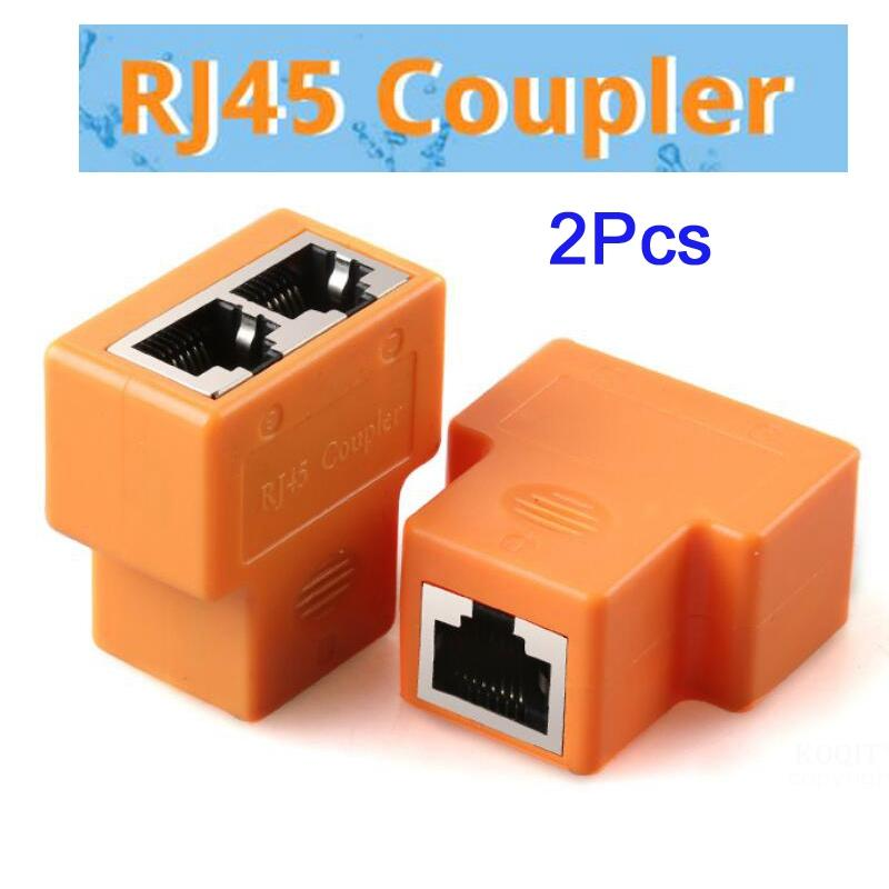 2Pcs <font><b>1</b></font> <font><b>To</b></font> <font><b>2</b></font> Ways <font><b>Ethernet</b></font> Cable <font><b>Adapter</b></font> Lan Cable Extender <font><b>Splitter</b></font> for Internet Cable Connection <font><b>1</b></font> Input <font><b>2</b></font> Output RJ45 Coupler image