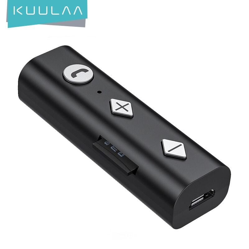 KUULAA Bluetooth 5,0 Empfänger 3,5mm AUX Jack Audio Wireless Adapter Bluetooth Aux Audio Musik Sender Für Auto PC Kopfhörer