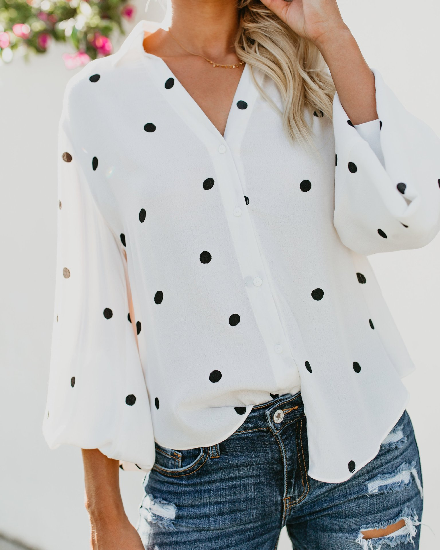 women blouse fashion 2020  female ladies clothing womens v-neck polka dot long sleeve top sexy shirt top 90s