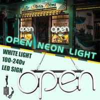 100 240V OPEN Neon Sign Light Bar Pub Display Party Neon Bulb Home Room Wall Decoration Advertising Commercial Lighting US Plug
