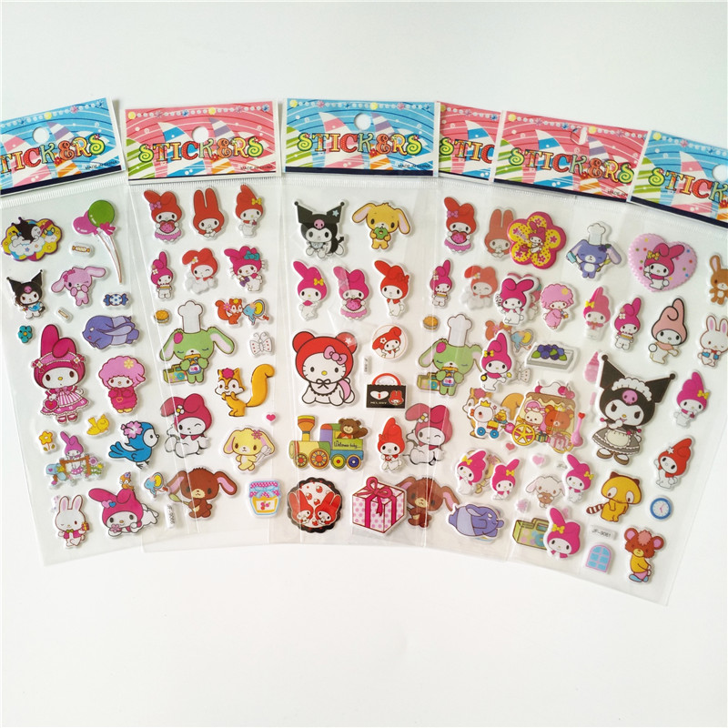 6 Sheets Little Lovely My Melody Kuromi Rabbit Decorative PVC Stickers DIY Phone Diary Scrapbook Index Phone Album Stickers