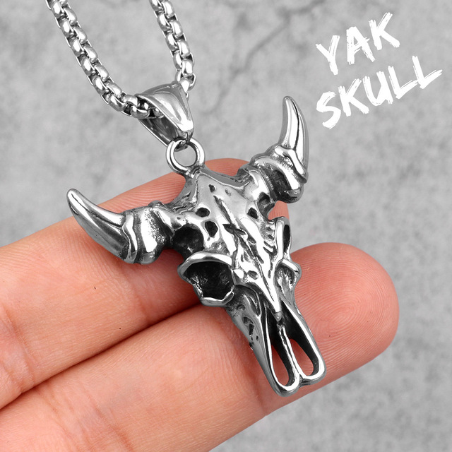 STAINLESS STEEL YAK SKULL NECKLACE
