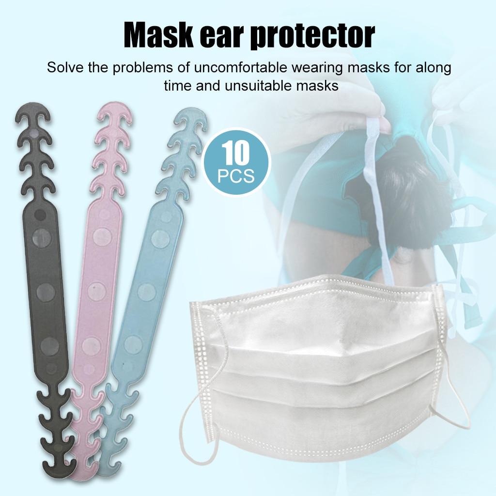 10 pçs máscara pendurado fivela aliviando a dor da orelha-deslizamento máscara orelha aperto extensão gancho ajustável quatro engrenagem orelha proteção gancho