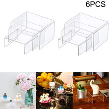 6PCS Klar Acryl Display Schläfer Schmuck Display Riser Regal Schaufenster Fixture Schmuck display standrohr display schrank Rack(China)