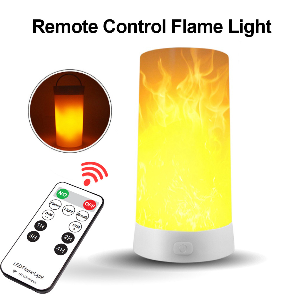 Flame Effect Light Rechargeable Portable Remote Control Night Light Emulation Fire Flickering Lamp Atmosphere Decor Lighting