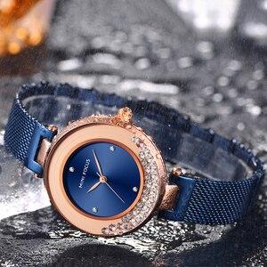 Image 4 - MINI FOCUS Women Watches Luxury Brand Fashion Casual Ladies Watch Dress Quartz Rhinestone WristWatch For Womens Blue Clock