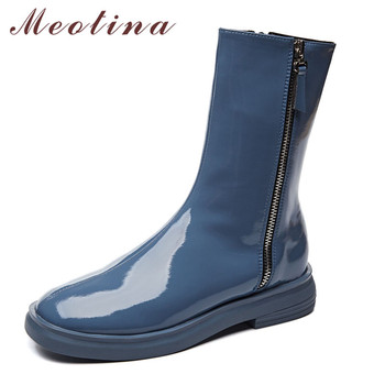 Meotina Women Mid-Calf Boots Shoes Patent Leather Flats Short Boots Ladies Round Toe Zipper Flat Female Boots Autumn Winter Blue new fashion women high heel shoes comfortable side zipper patent leather for women cute mid calf boots pointed toe free shipping