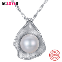 AGLOVER 925 Silver Water-Wave Chain Pearl Necklace Natural Freshwater Pearl Pendant Necklace Pearl Jewelry Women Christmas Gift 18k gold pearl pendant necklace jewelry for women natural pearl necklace pendant 925silver chain fine jewelry christmas gift