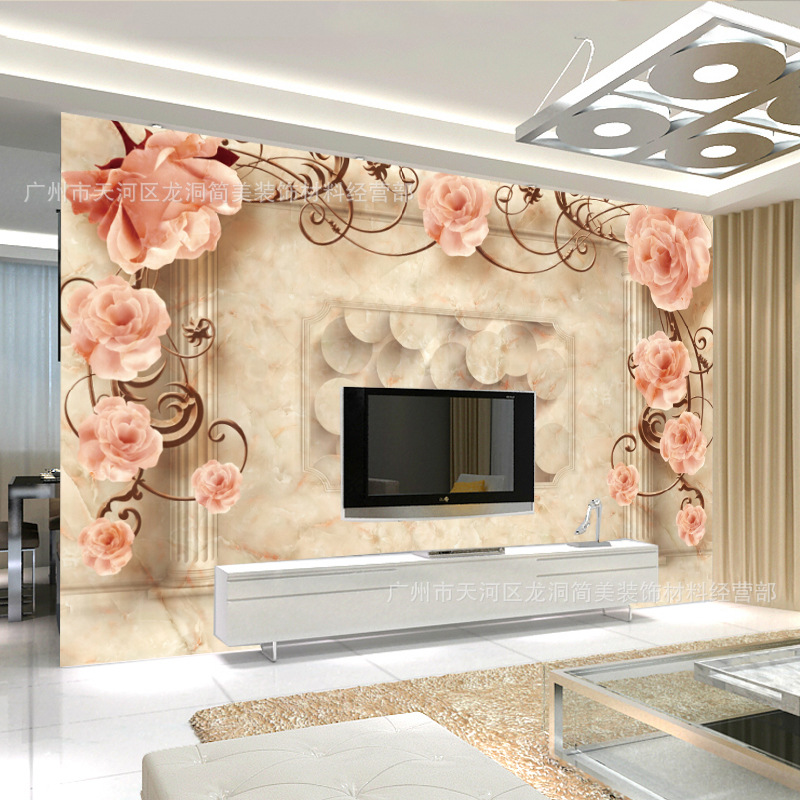 3D Large Mural Wallpaper Television Europe And America Background Living Room European Style Decorative Pattern Faux Marble Non-