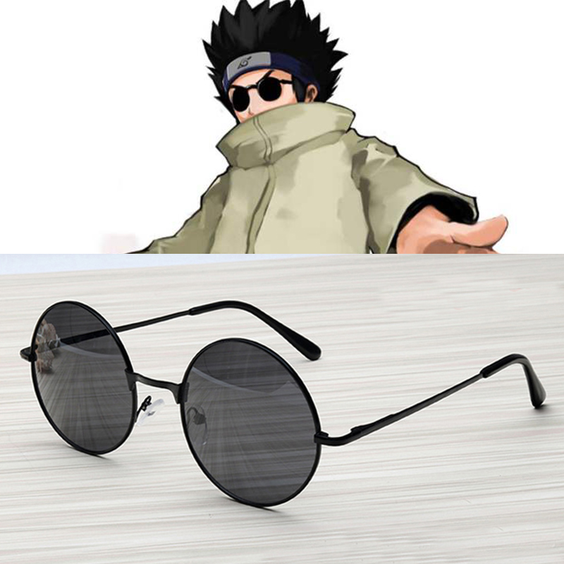 New Naruto Cosplay Aburame Shino Cosplay Round Lens Sunglasses Black Frame Sun Glasses Widely Use Anime
