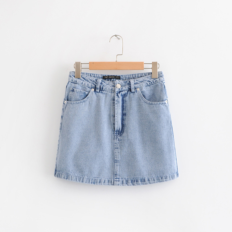 Europe And America 2019 Spring And Summer New Style Western Style WOMEN'S Dress Casual Versatile Blue Denim Skirt High-waisted S