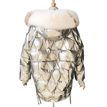 Winter Glossy Down Parka Thick Women Waterproof Coat Large Size Loose Warm Snow Shiny Overcoat Real Fox Fur Collar Down Coat