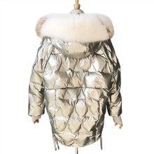 Zima błyszczący Parka puchowa grube kobiety wodoodporny płaszcz duży rozmiar luźne ciepłe śniegu błyszczące płaszcz kołnierz z prawdziwego futra lisów w dół płaszcz