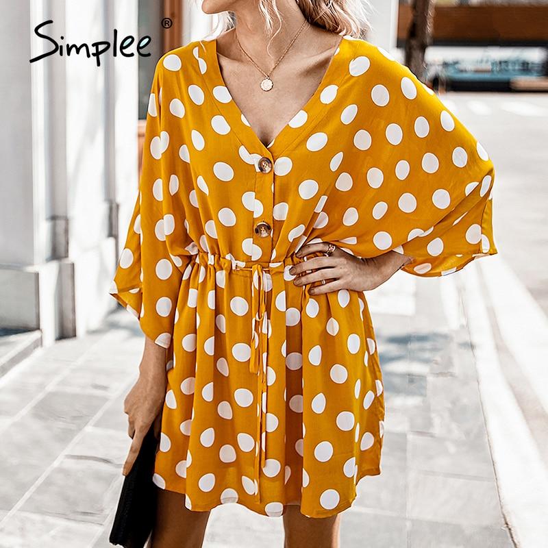 Simplee Elegant v-neck dot print women dress Casual half sleeve ruffle female short sundress Fashion daily ladies mini dresses