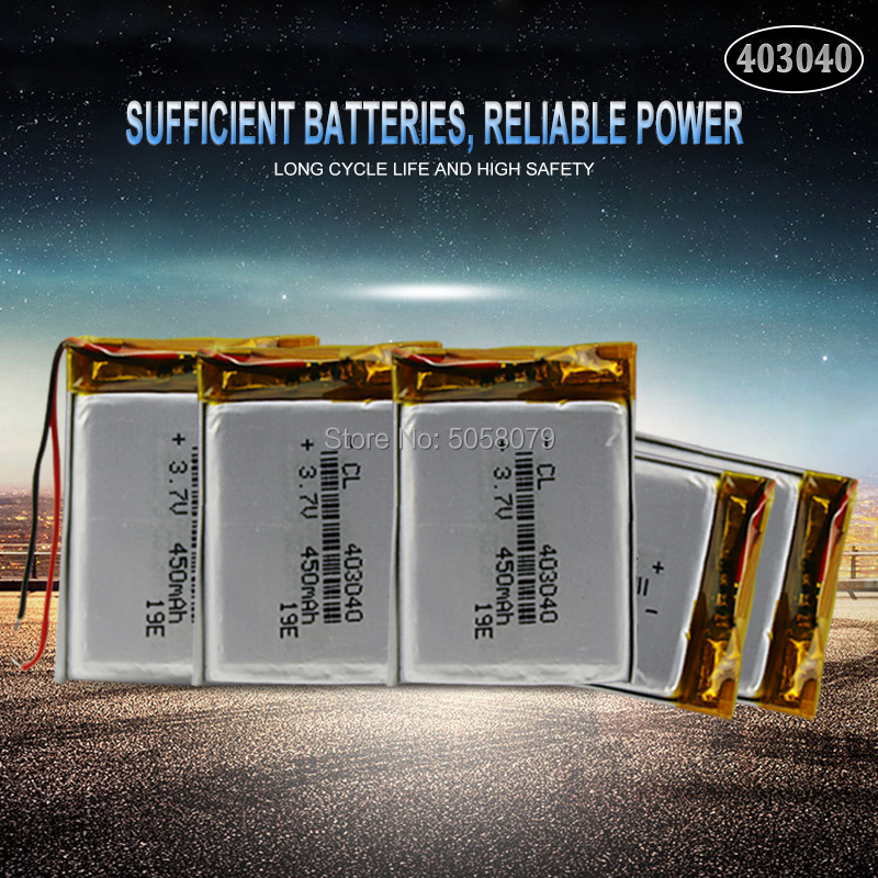 20pcs <font><b>3.7V</b></font> 450mAh <font><b>403040</b></font> Lithium Polymer LiPo Rechargeable Battery For Mp3 Mp4 PAD DVD DIY E-book bluetooth peaker Camera image