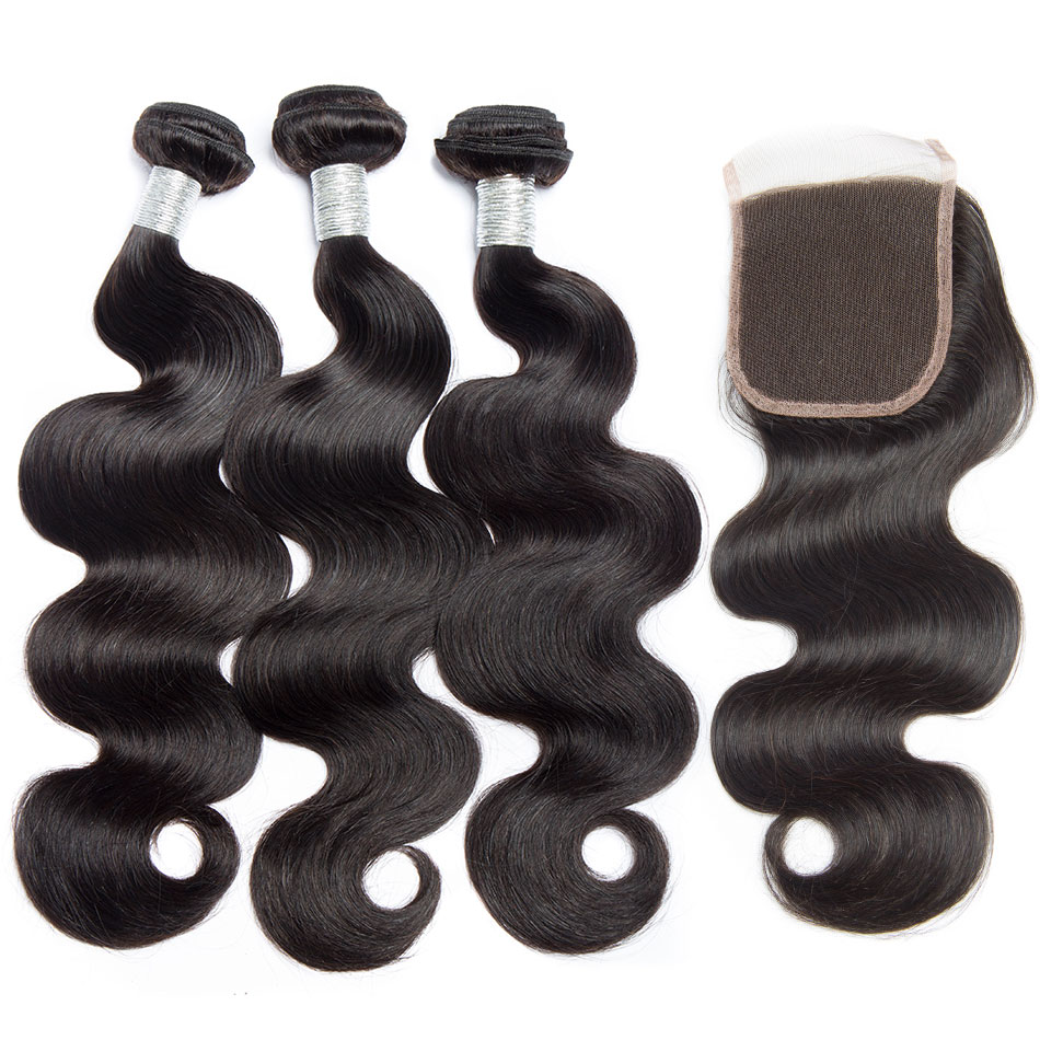 Alibele Brazilian Body Wave Bundles With Closure Hair Weave Bundle With Closure Remy Human Hair 3 Bundles With Lace Closure-in 3/4 Bundles with Closure from Hair Extensions & Wigs