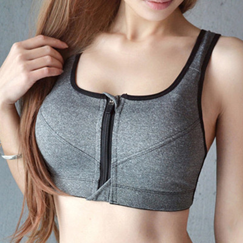 Hot Sell Sports Underwear Women Running Shockproof Vest Fitness Clothing Thin Section Large Size Open Zip Sexy Gathered Bra
