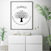 Cuadro sobre lienzo para pared con frases familiares, póster impreso de árbol familiar, decoración para las paredes del salón