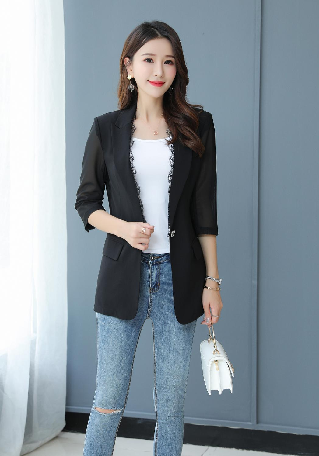Brieuces Women's Jacket spring Autumn New Women's Fashion Slim 3/4  Sleeve Black Small Suit Ladies One button coat Women's Blaze