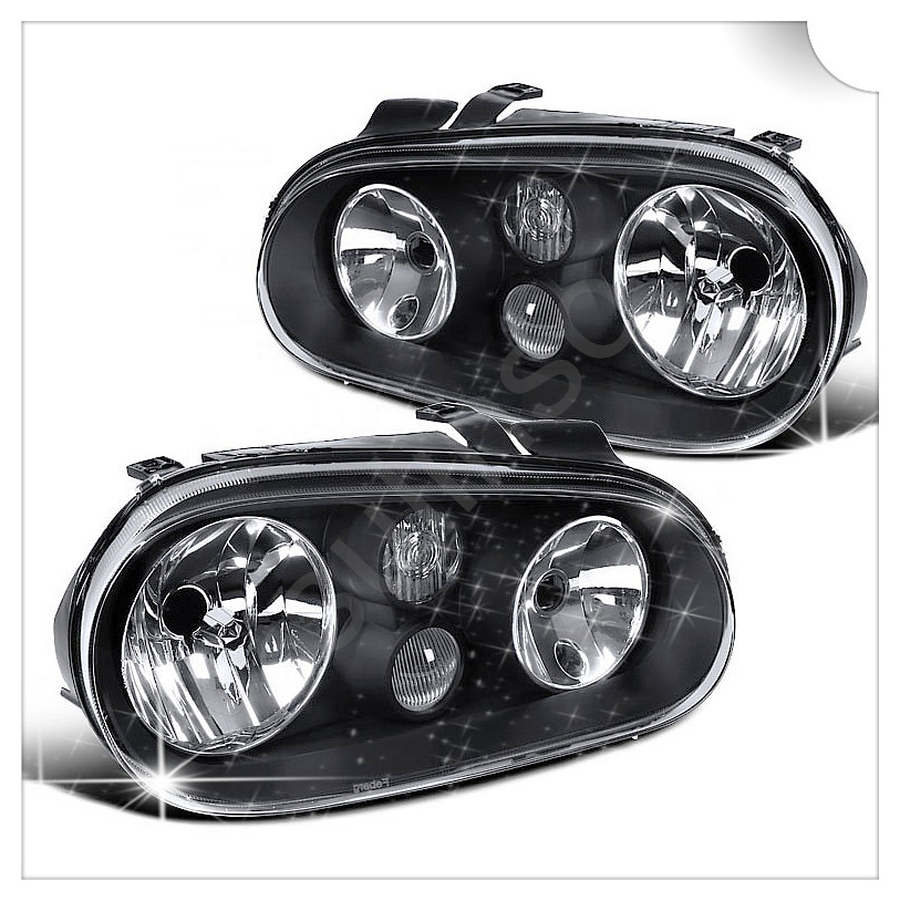 Sulinso For Volkswagen Golf GTI MK4 [Glossy Black] Halo Projector Headlights