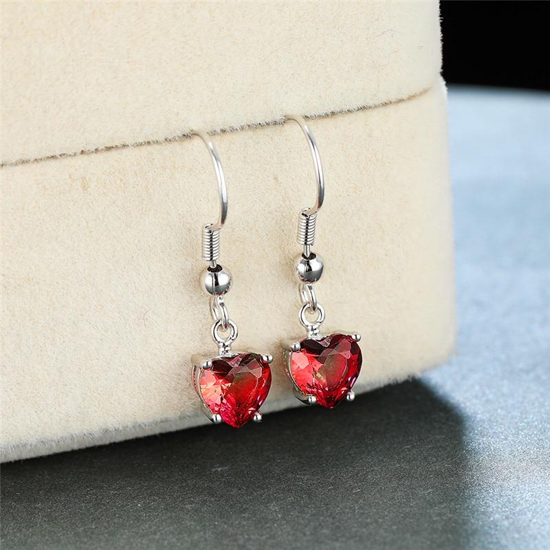 White Gold Blue Green Crystal Heart Stone Dangle Earrings For Women Wedding Jewelry Female Luxury Rainbow Zircon Drop Earrings