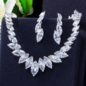 Image 5 - Pera Fashion Marquise Cut Clean White CZ Zirconia Wedding Leaf Drop Necklace Earrings Set for Brides Bridesmaids Jewelry J316