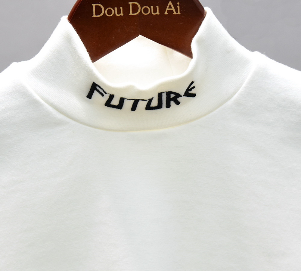 New Autumn Boys T Shirt Fashion Kids T Shirt For Boy Cotton long Sleeve Baby Girls Embroidered T-shirt with high collar 4