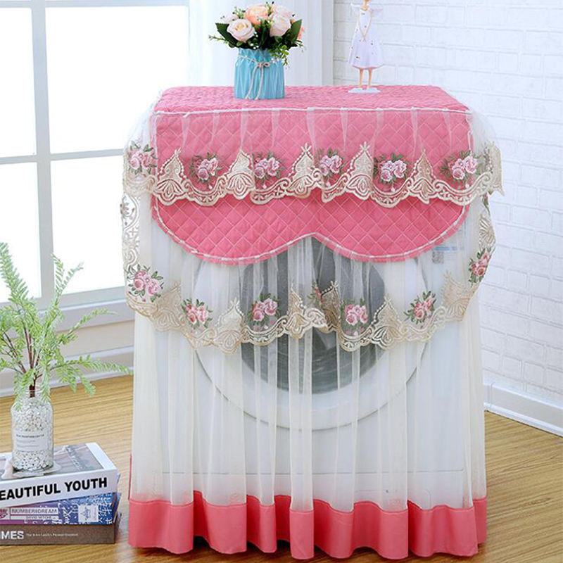 Lace Ruffle Floral Washing Machine Dust Cover Protection Front Durable Soft Home lace proof Case Washing Machine Protective Dust|Washing Machine Covers| |  - title=