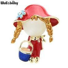 Броши Wuli & baby с эмалью с изображением опал брошь с дизайном «девочка» Для женщин на каждый день, 3 цвета, милые ведро для девочек Рисунок офис ...