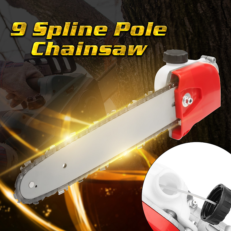 28mm 9 Spline Tree Cutter Tree Chainsaw Pole Chainsaw Saw Gearboxs Gear Head Tool +Chain+Guide Woodworking