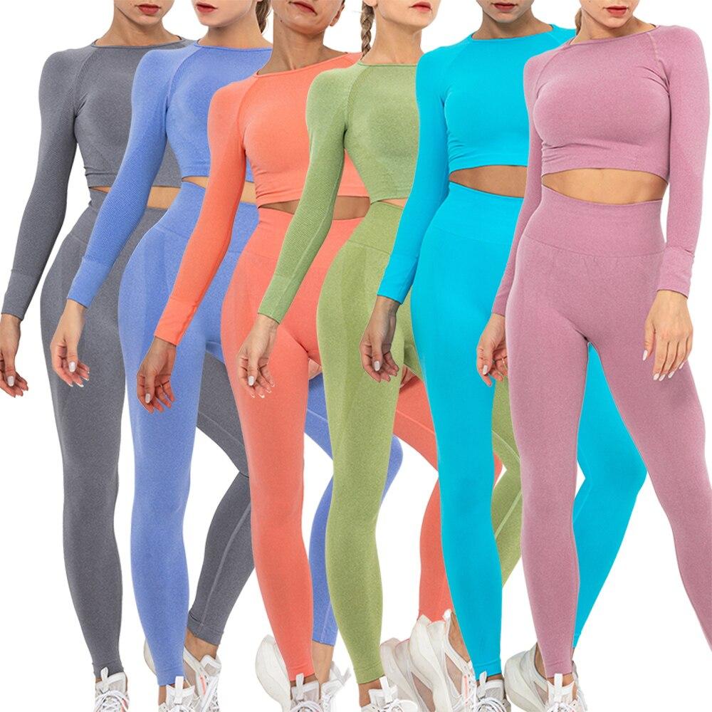 Женский бесшовный комплект для йоги KIWI RATA, спортивные костюмы для фитнеса, одежда для тренажерного зала, рубашки с длинным рукавом, леггинсы...