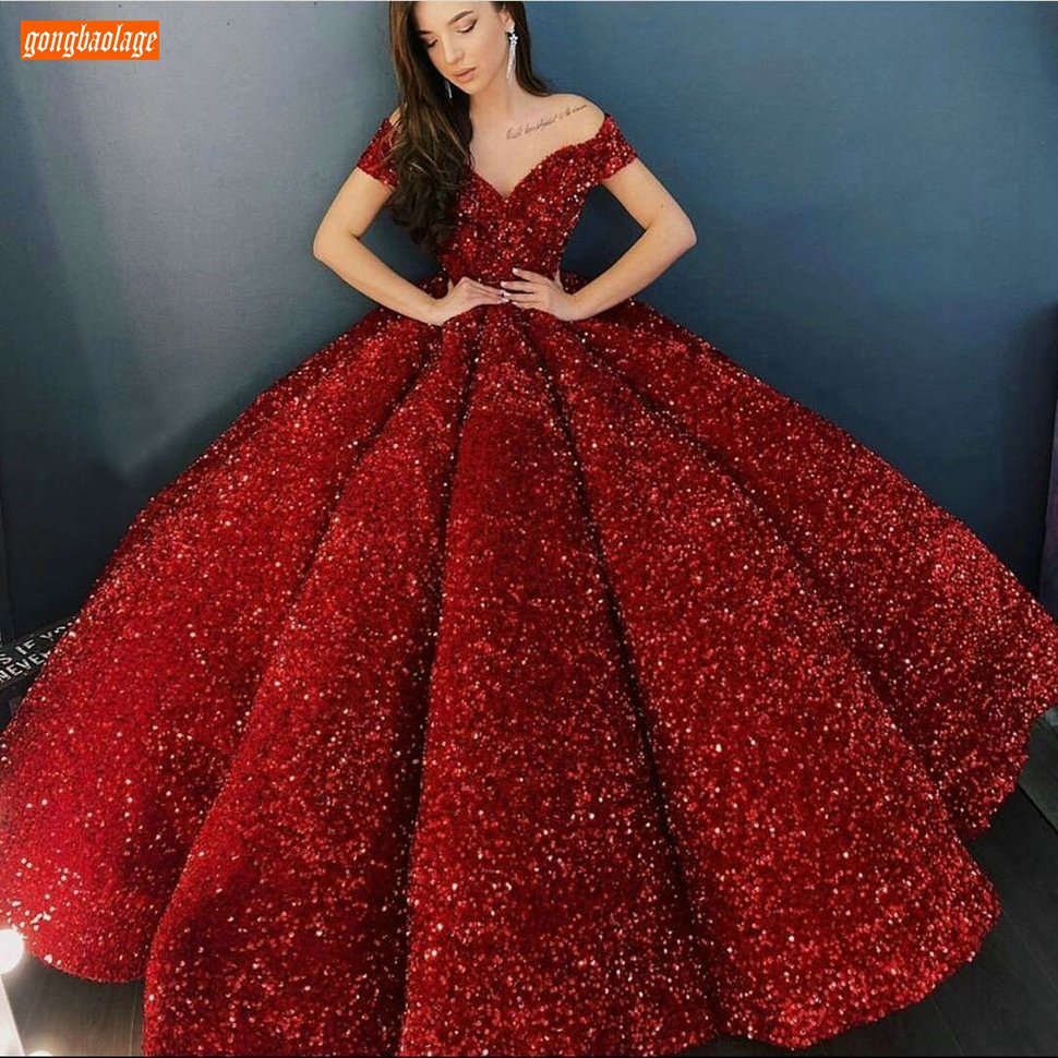 Reflective   Evening     Dresses   Off Shoulder Shiny Sequined Custom Made   Evening   Gowns Long Lace Up Fluffy Ball Gown Gala Formal   Dress