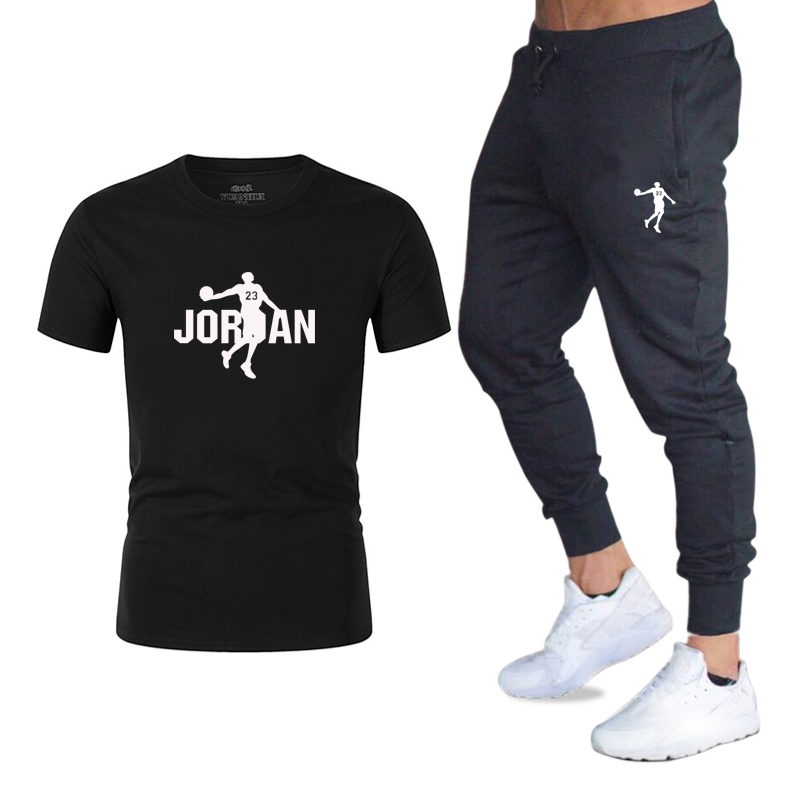 Tracksuit 2020 Men Brand Hot Sale Men's Sets T Shirts+Trousers Two Pieces Sets Casual Tracksuit Male O-Neck Printing Sportswear