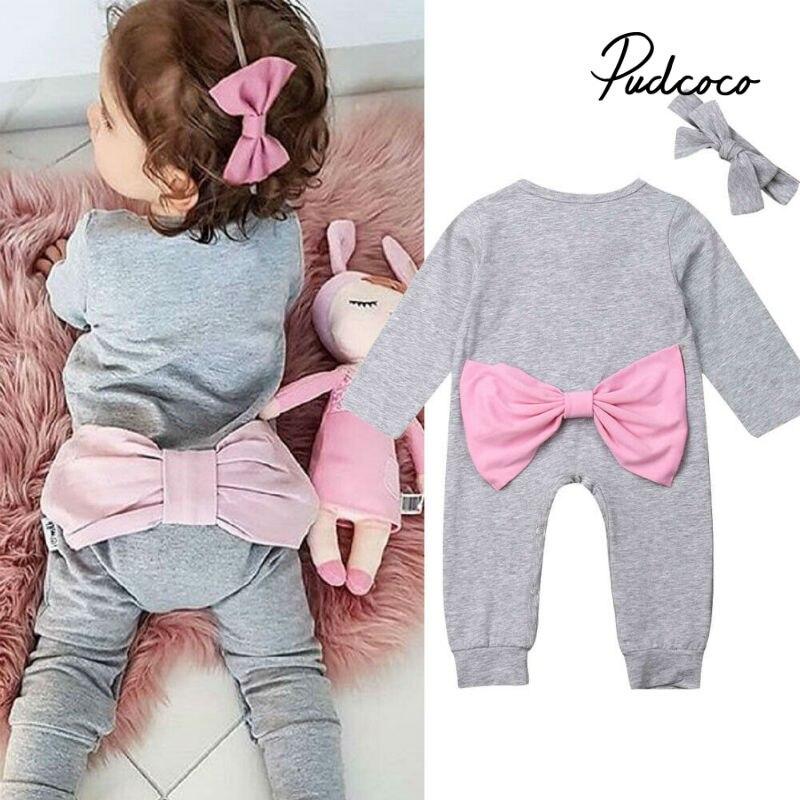 Kid Girl Short Sleeves Bodysuit Headband Clothes Set 0-24 Months Efaster Newborn Baby Romper