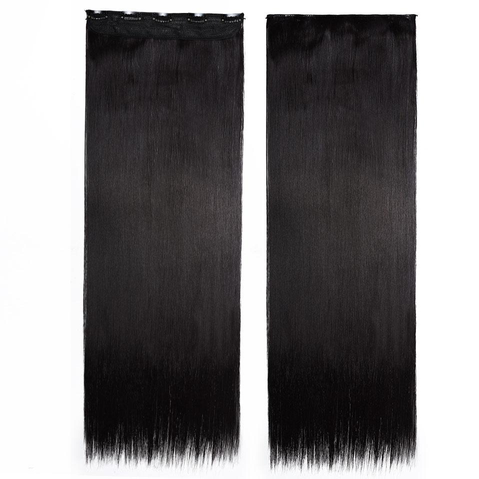 S-noilite, накладные волосы на заколках, черный, коричневый, натуральные, прямые, 58-76 см, длинные, высокая температура, синтетические волосы для наращивания, шиньон - Цвет: black mix purple