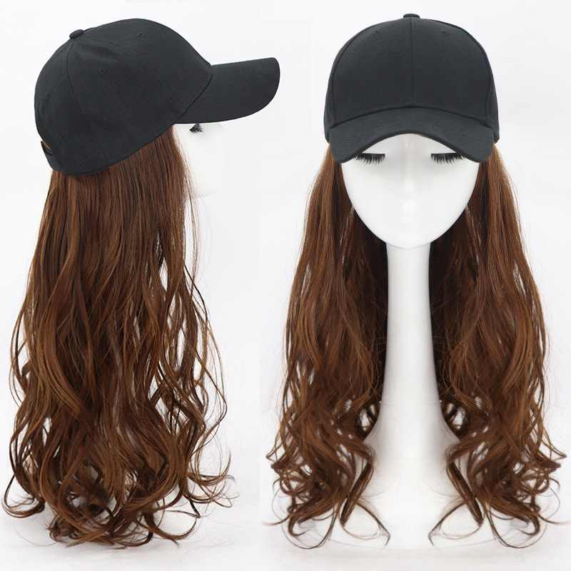 2020 Nieuwe Pruik Cap Baseball Cap Vrouwen Lang Haar Krullend Wit Zwarte Hoed Bruin Haar Pruik Hoed Hot Fashion