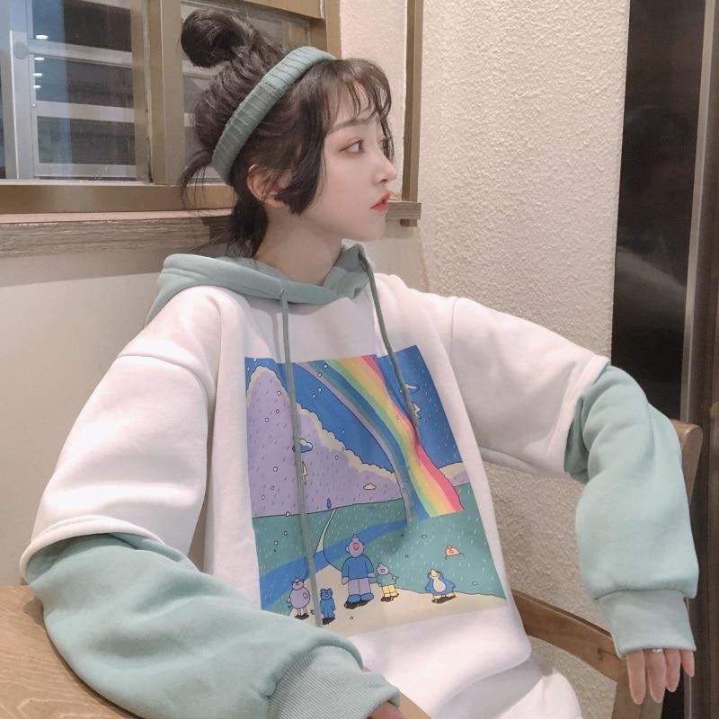 Autumn Winter Patchwork Women Hooded Hoodies Student Casual Loose Sweatshirt Coat Oversizes Cartoon Print Plus Velvet Outerwear