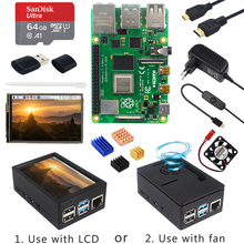 Raspberry Pi 4 Model B + Case + Power Supply + 64GB SD Card+ Heatsink Optional 3.5 inch Touch Screen / Fan&HDMI Cable for RPI 4