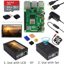 Raspberry Pi 4 Modelo B + funda + fuente de alimentación + tarjeta SD de 64GB + disipador térmico opcional pantalla táctil de 3,5 pulgadas/ventilador + Cable HDMI para RPI 4