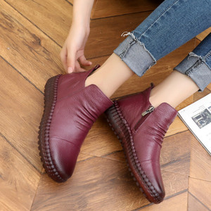 Image 3 - Dropshipping แฟชั่นฤดูใบไม้ร่วงแบนรองเท้าของแท้รองเท้าหนัง Vintage Casual รองเท้า Retro Handmade ผู้หญิง Boot