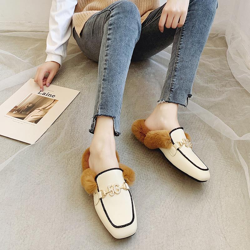 Shoes Woman 2019 Slippers Fur Cover Toe Candy Colors Glitter Slides Fashion Mules Women Low Plush Jelly Square Flat Luxury 41