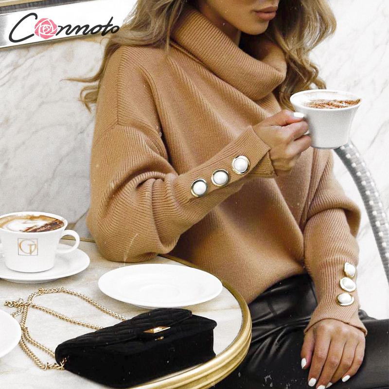 Conmoto Women Solid Color Sweatshirt 2019 Autumn Winter Turtleneck Long Sleeve Pullovers Female Fashion Button Jumpers Tops