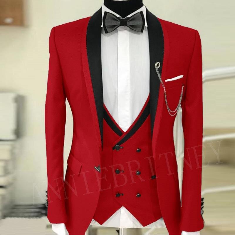 ANNIEBRITNEY Luxury Red Wedding Suits For Men Slim Fit Groom Tuxedo Jacket Pants Vest 3 Piece Dinner Prom Men Suit Blazer 2019