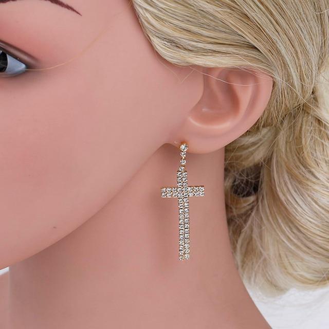 Elegant Cross Design Bridal Long Earrings Sparkling Silver Plated Rhinestone Crystal Dangle Earrings For Women Wedding.jpg 640x640 - Elegant Cross Design Bridal Long Earrings Sparkling Silver Plated Rhinestone Crystal Dangle Earrings For Women Wedding Jewelry