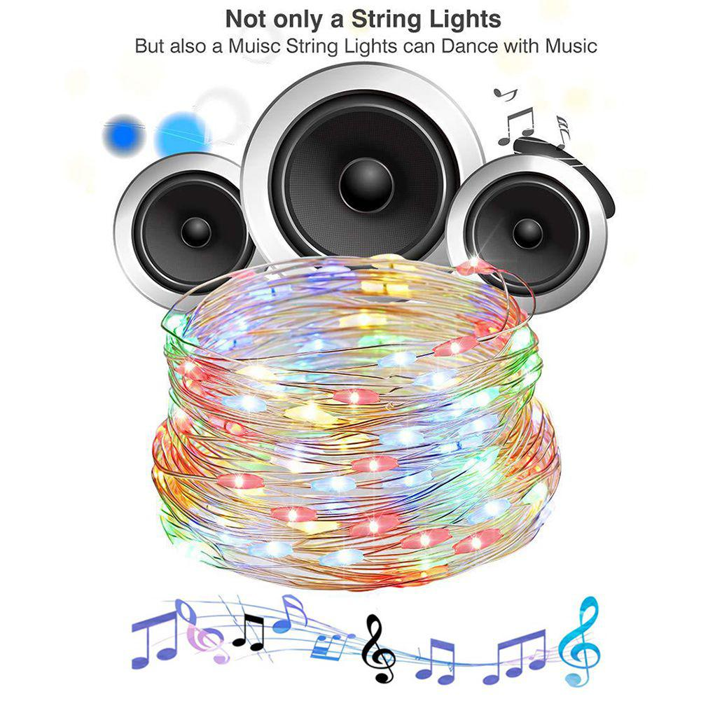 USB Copper Twinkle String Lights Wire Sound Activated Music LED String Lights 5M 10M 12 Modes for Party Christmas Wedding