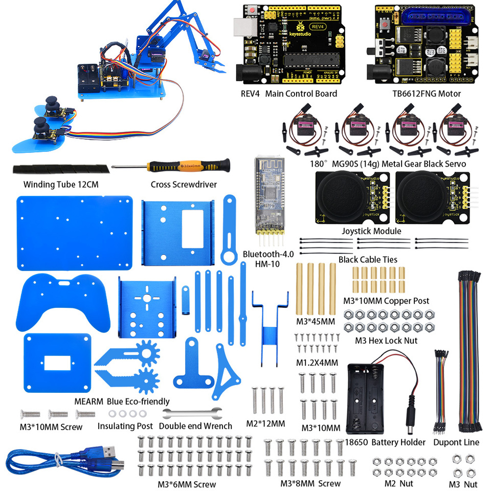 Keyestudio 4DF Mechanical PS2 Joystick Metallic Robot Arm Learning Starter  Kit V2.0 for Arduino DIY|Integrated Circuits| - AliExpress