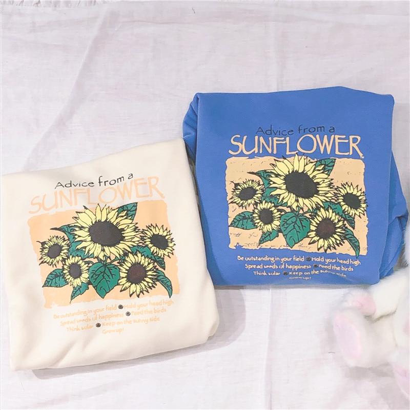 Sunflower Sweatshirt Women Long Sleeve O-neck Letter Print Loose Pullovers Casual Top Female Harajuku Top 2019 Autumn New