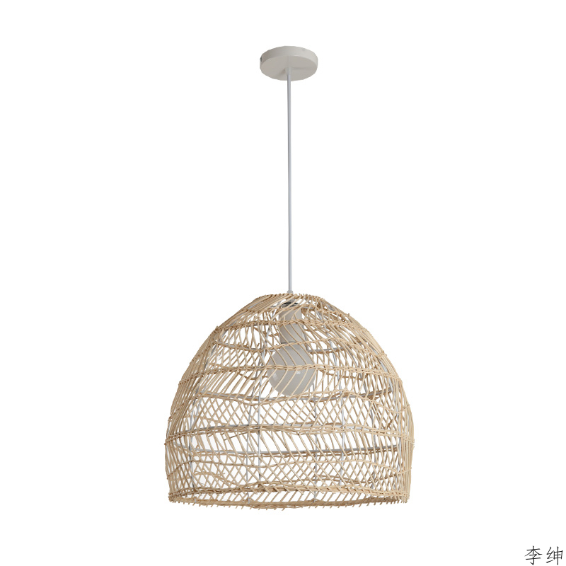 Modern Bamboo LED Pendant Light Hand-woven Lampshade Hanging Cafe Restaurant Indoor Lighting Pendant Lamp Home Decor Luminaria