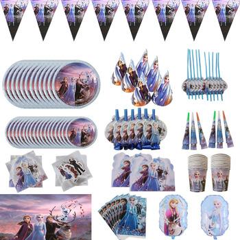 Disney Frozen 2 Party niebieskie motywy bohaterowie kreskówek jednorazowe zastawy stołowe talerze dekoracje na imprezę urodzinową Kids Favor Supplies tanie i dobre opinie CN (pochodzenie) Jednorazowe zestawy stołowe Wielkie wydarzenie Przejście na emeryturę do ujawnienia płci przyjęcie urodzinowe
