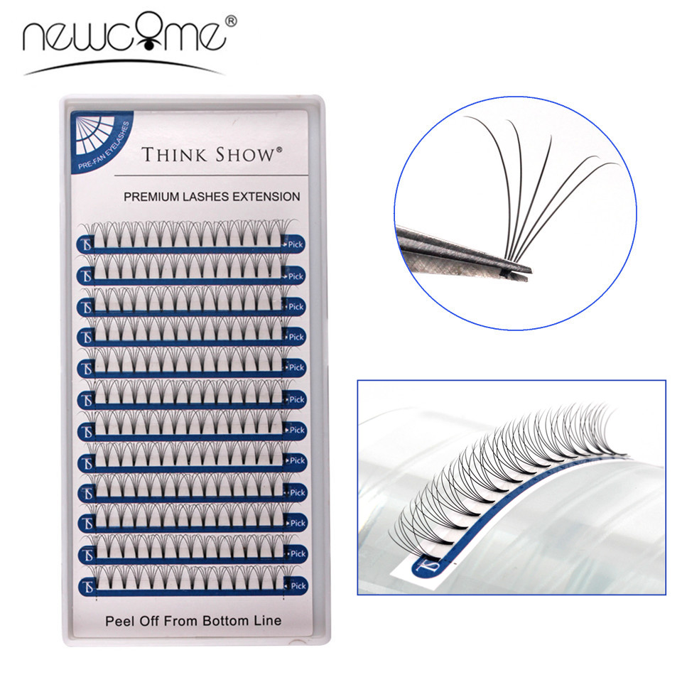 NEWCOME 12lines Permade Volume Fans 3D/4D/5D Short Stem Eyelashes Faux Mink Russian Eyelash Extension Cilia Makeup Tools